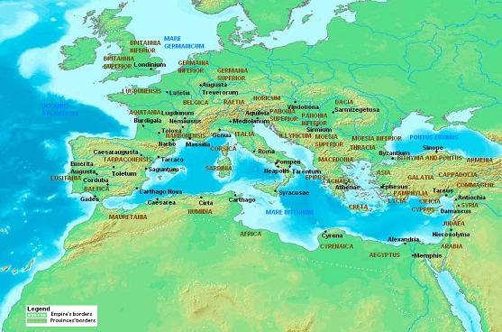 roman empire map 180 AD small