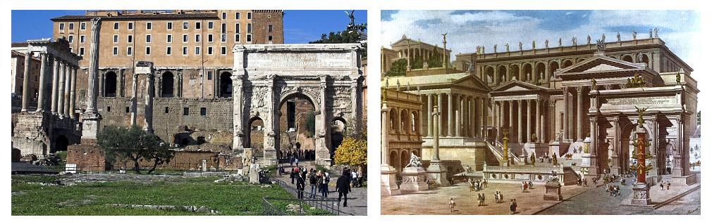 roman forum then and now